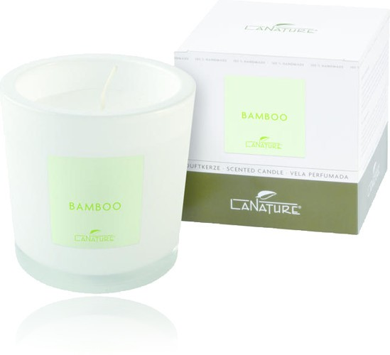 Duftkerze LaNature in weißem Glas, Bamboo, 1404008W