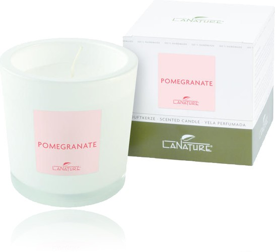 Duftkerze LaNature in weißem Glas, Pomgranate, 1404009W