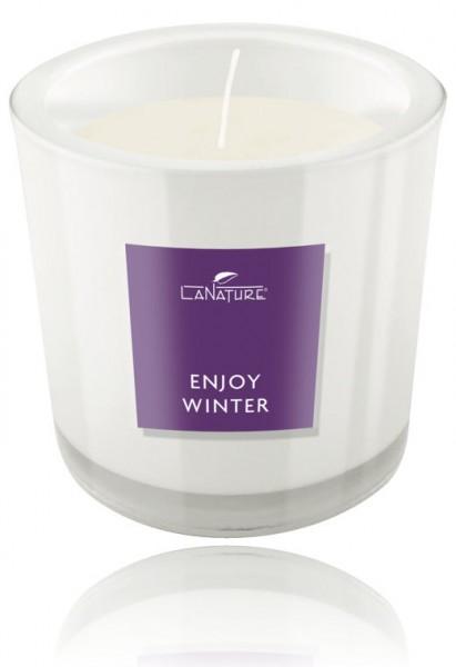 Duftkerze LaNature in weißem Glas, Enjoy Winter, 1404014W